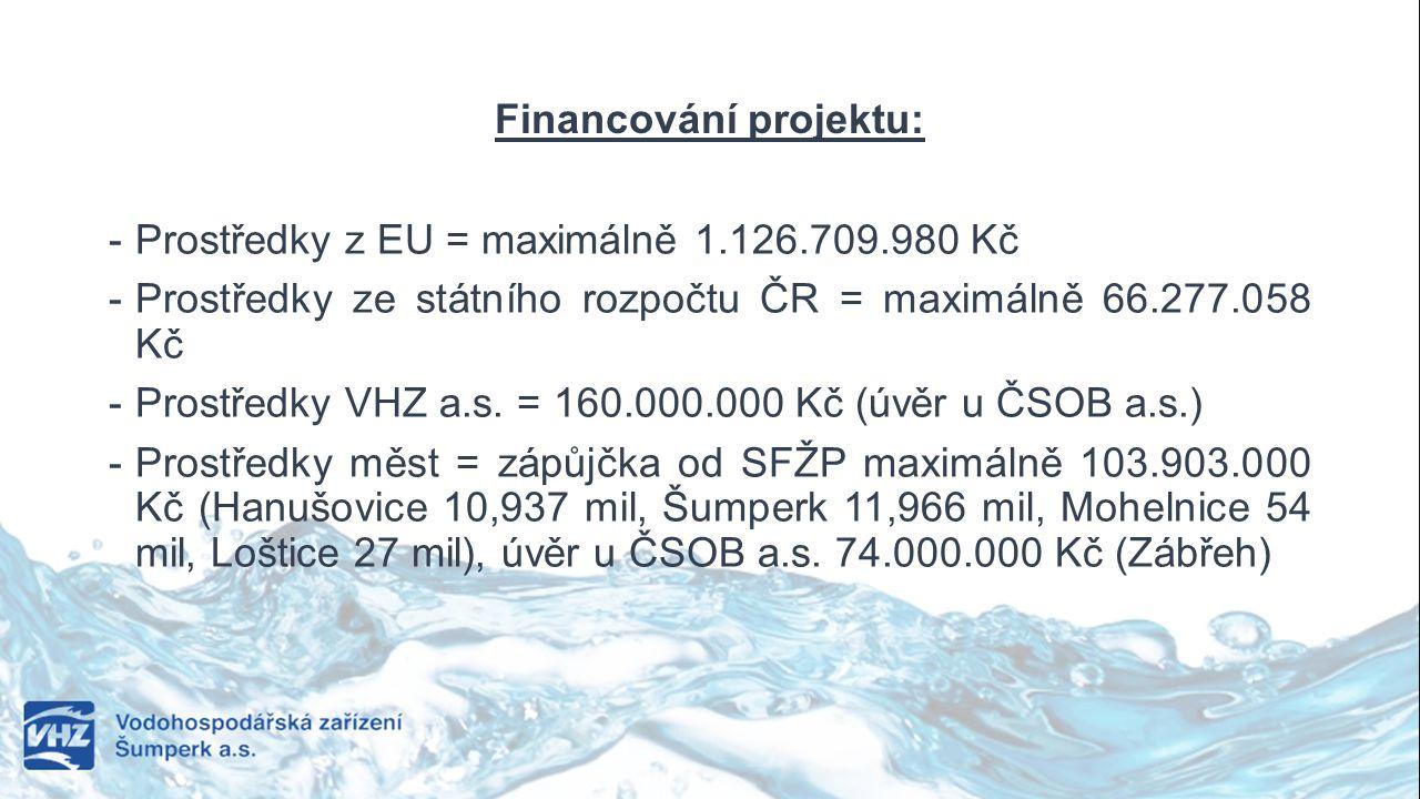 Financování projektu: - Prostředky z EU = maximálně 1.126.709.980 Kč - Prostředky ze státního rozpočtu ČR = maximálně 66.277.058 Kč - Prostředky VHZ a