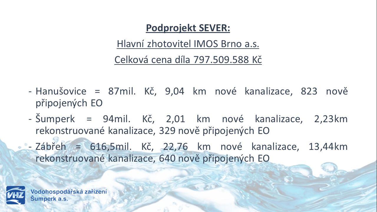 Podprojekt SEVER: Hlavní zhotovitel IMOS Brno a.s. Celková cena díla 797.509.588 Kč -Hanušovice = 87mil. Kč, 9,04 km nové kanalizace, 823 nově připoje