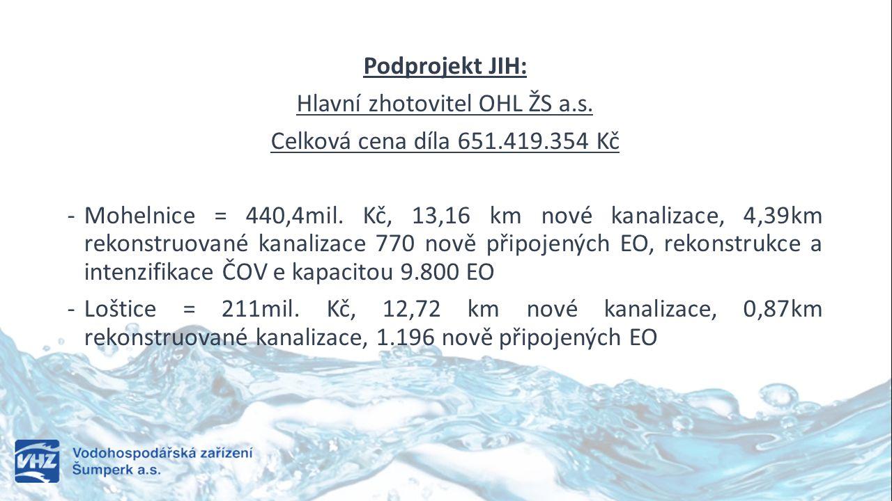 Podprojekt JIH: Hlavní zhotovitel OHL ŽS a.s. Celková cena díla 651.419.354 Kč -Mohelnice = 440,4mil. Kč, 13,16 km nové kanalizace, 4,39km rekonstruov