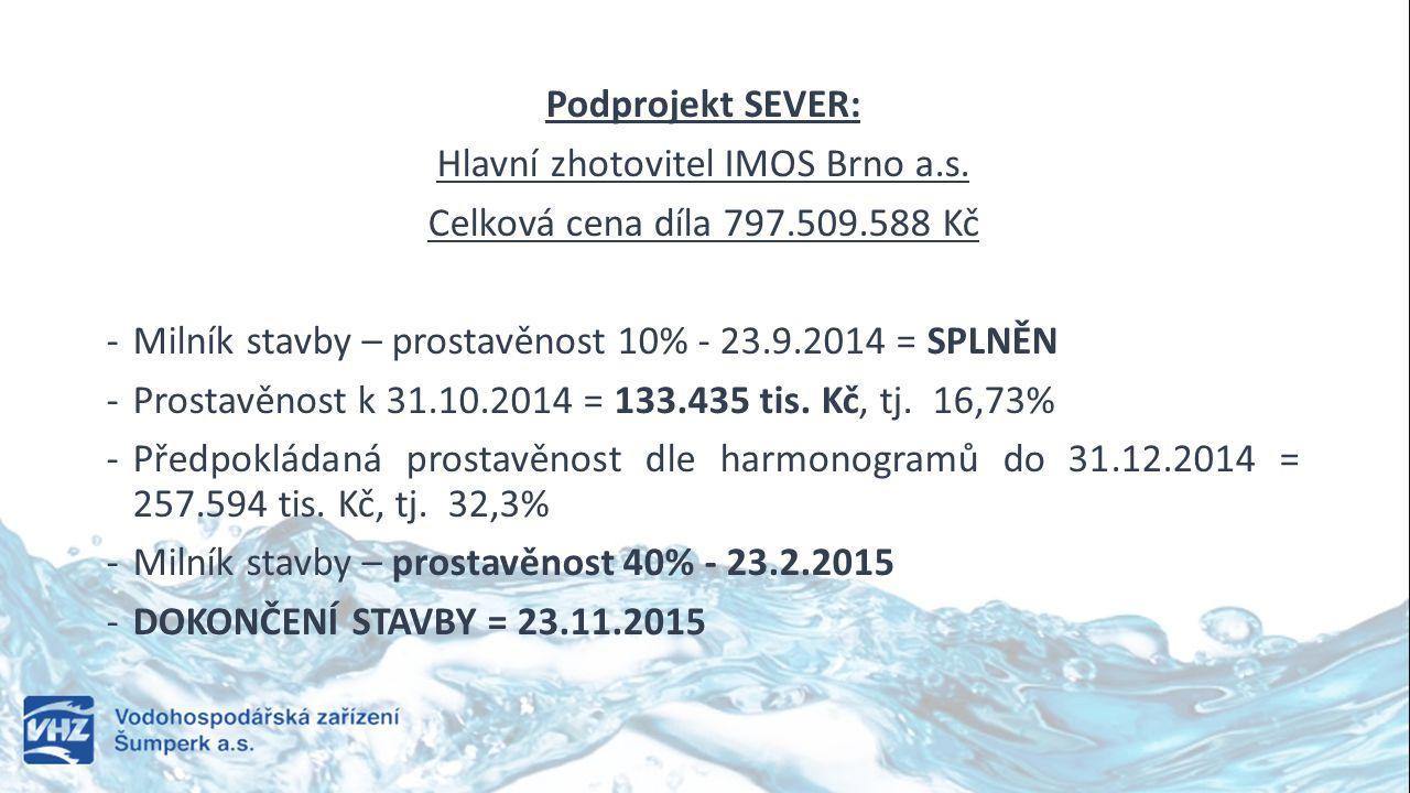 Podprojekt SEVER: Hlavní zhotovitel IMOS Brno a.s. Celková cena díla 797.509.588 Kč -Milník stavby – prostavěnost 10% - 23.9.2014 = SPLNĚN -Prostavěno