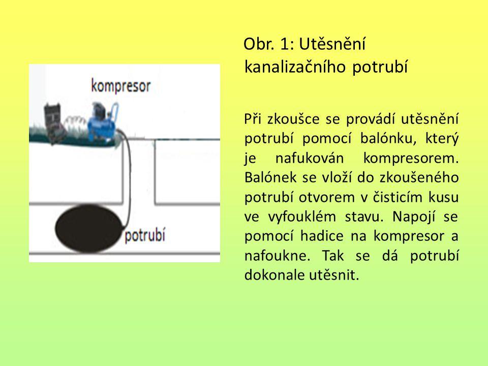 Obr. 1: Utěsnění kanalizačního potrubí Při zkoušce se provádí utěsnění potrubí pomocí balónku, který je nafukován kompresorem. Balónek se vloží do zko