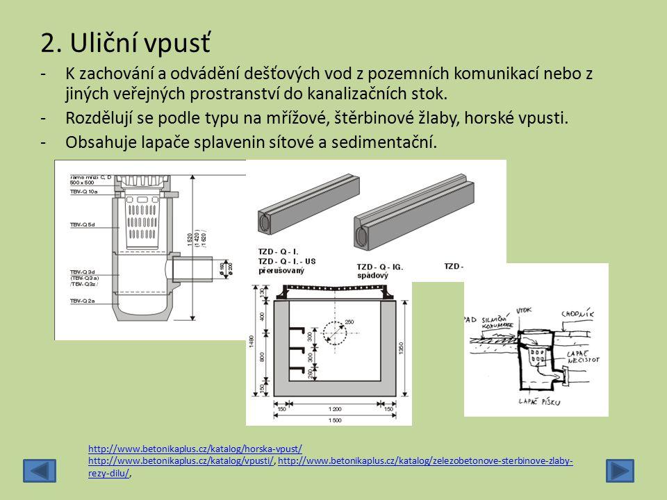 2. Uliční vpusť -K zachování a odvádění dešťových vod z pozemních komunikací nebo z jiných veřejných prostranství do kanalizačních stok. -Rozdělují se