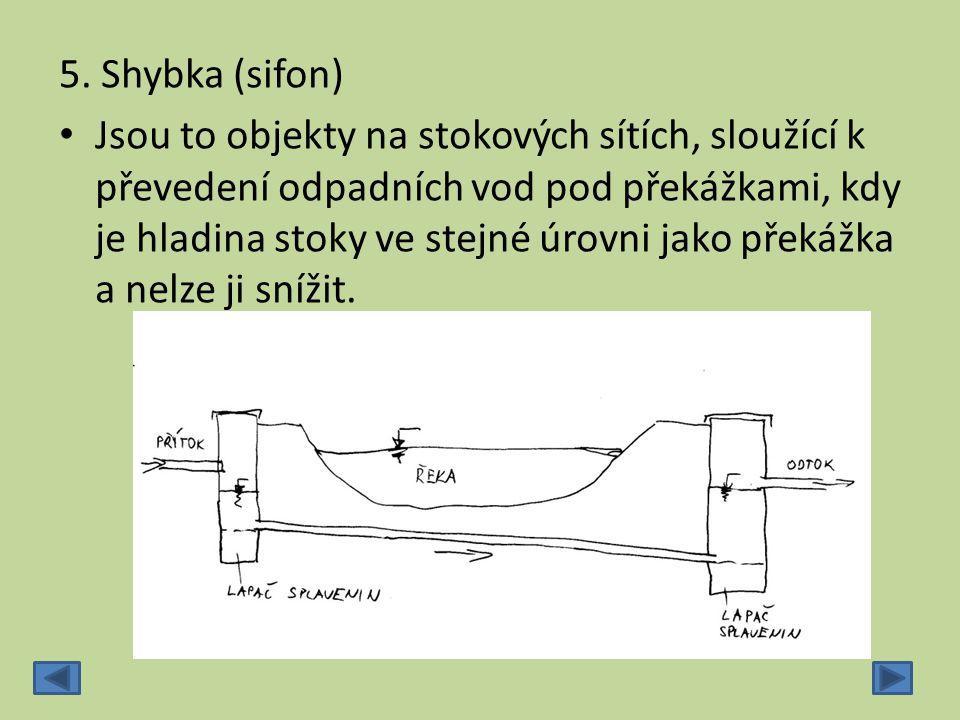 5. Shybka (sifon) Jsou to objekty na stokových sítích, sloužící k převedení odpadních vod pod překážkami, kdy je hladina stoky ve stejné úrovni jako p