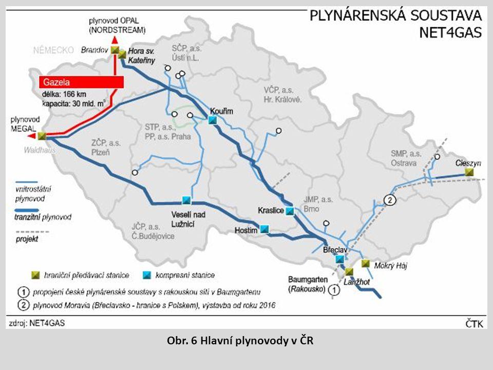 Obr. 6 Hlavní plynovody v ČR