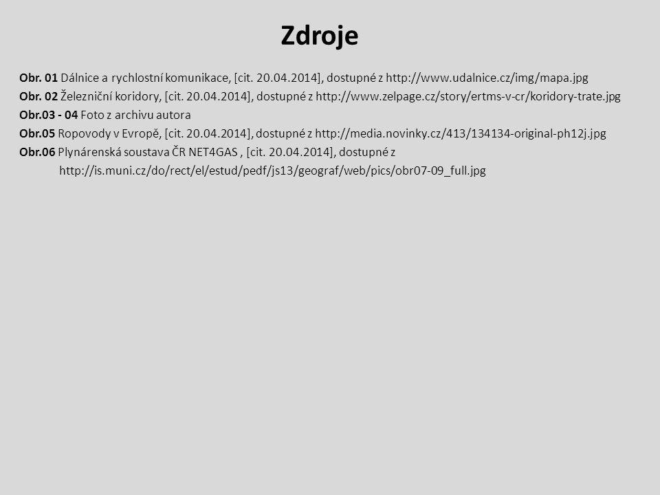 Zdroje Obr. 01 Dálnice a rychlostní komunikace, [cit. 20.04.2014], dostupné z http://www.udalnice.cz/img/mapa.jpg Obr. 02 Železniční koridory, [cit. 2