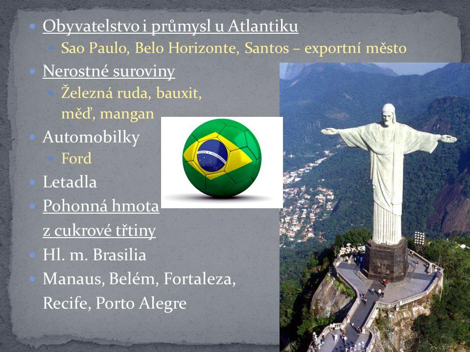 Obyvatelstvo i průmysl u Atlantiku Sao Paulo, Belo Horizonte, Santos – exportní město Nerostné suroviny Železná ruda, bauxit, měď, mangan Automobilky