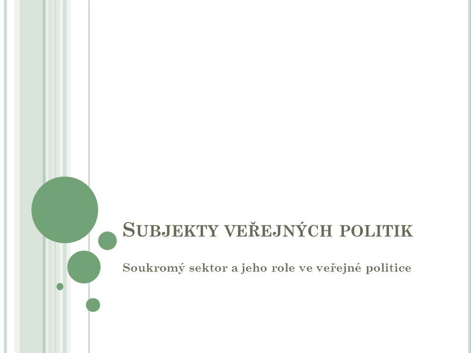 S UBJEKTY VEŘEJNÝCH POLITIK Soukromý sektor a jeho role ve veřejné politice