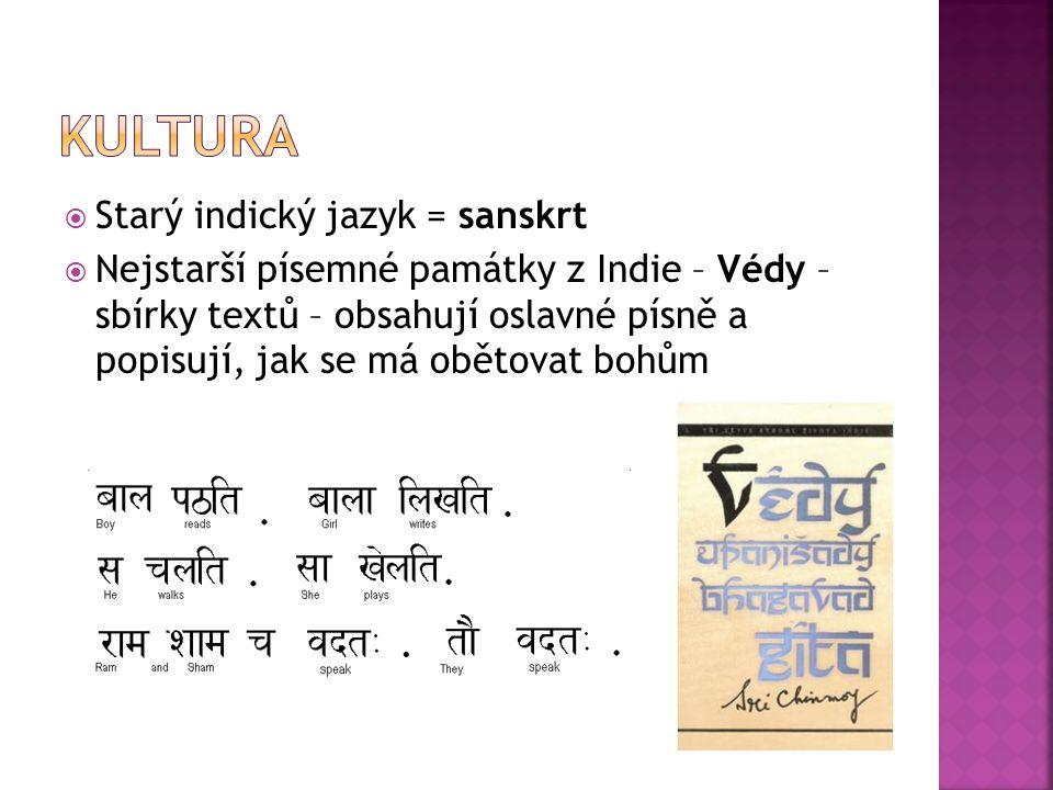  Starý indický jazyk = sanskrt  Nejstarší písemné památky z Indie – Védy – sbírky textů – obsahují oslavné písně a popisují, jak se má obětovat bohů