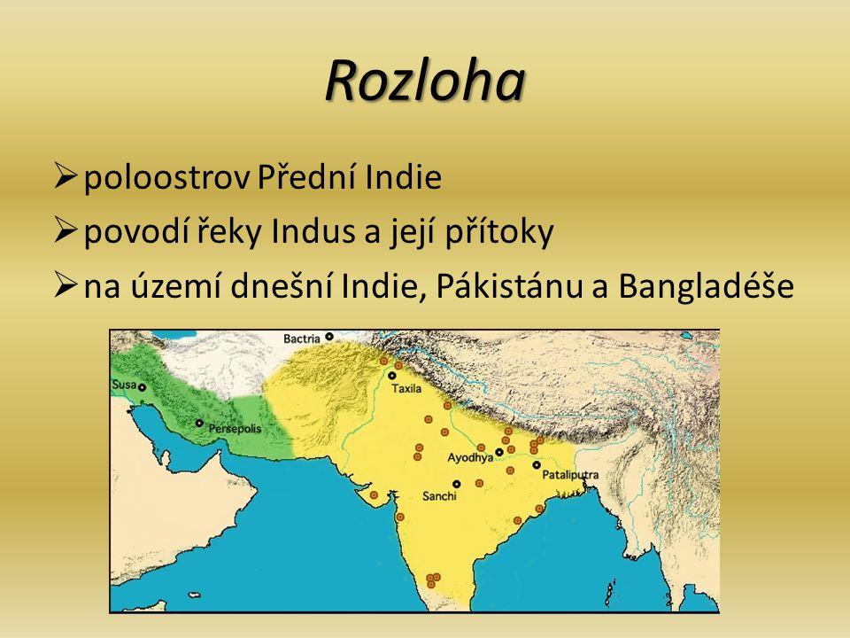 Rozloha  poloostrov Přední Indie  povodí řeky Indus a její přítoky  na území dnešní Indie, Pákistánu a Bangladéše