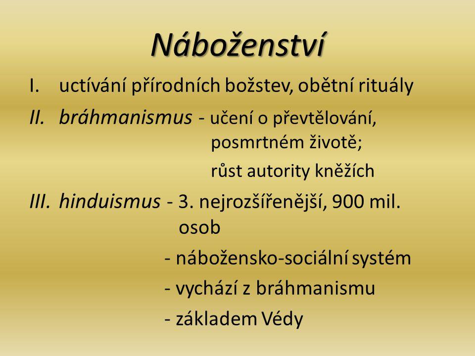 Náboženství I.uctívání přírodních božstev, obětní rituály II.bráhmanismus - učení o převtělování, posmrtném životě; růst autority kněžích III.hinduismus - 3.