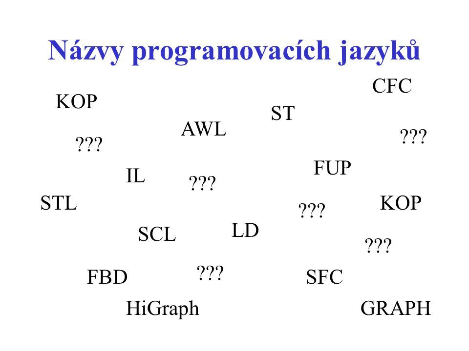 Názvy programovacích jazyků IL AWL SCL STL FBD LD SFC FUP CFC KOP ST KOP ??? HiGraphGRAPH