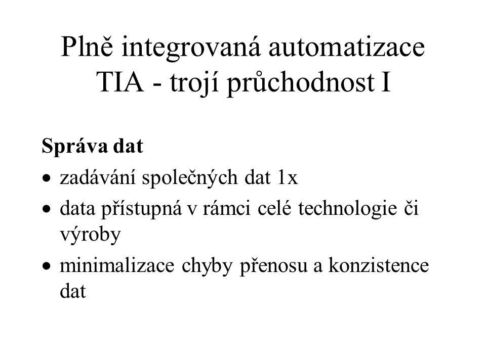 Plně integrovaná automatizace TIA - trojí průchodnost I Správa dat  zadávání společných dat 1x  data přístupná v rámci celé technologie či výroby 