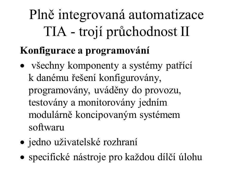 Plně integrovaná automatizace TIA - trojí průchodnost II Konfigurace a programování  všechny komponenty a systémy patřící k danému řešení konfigurová