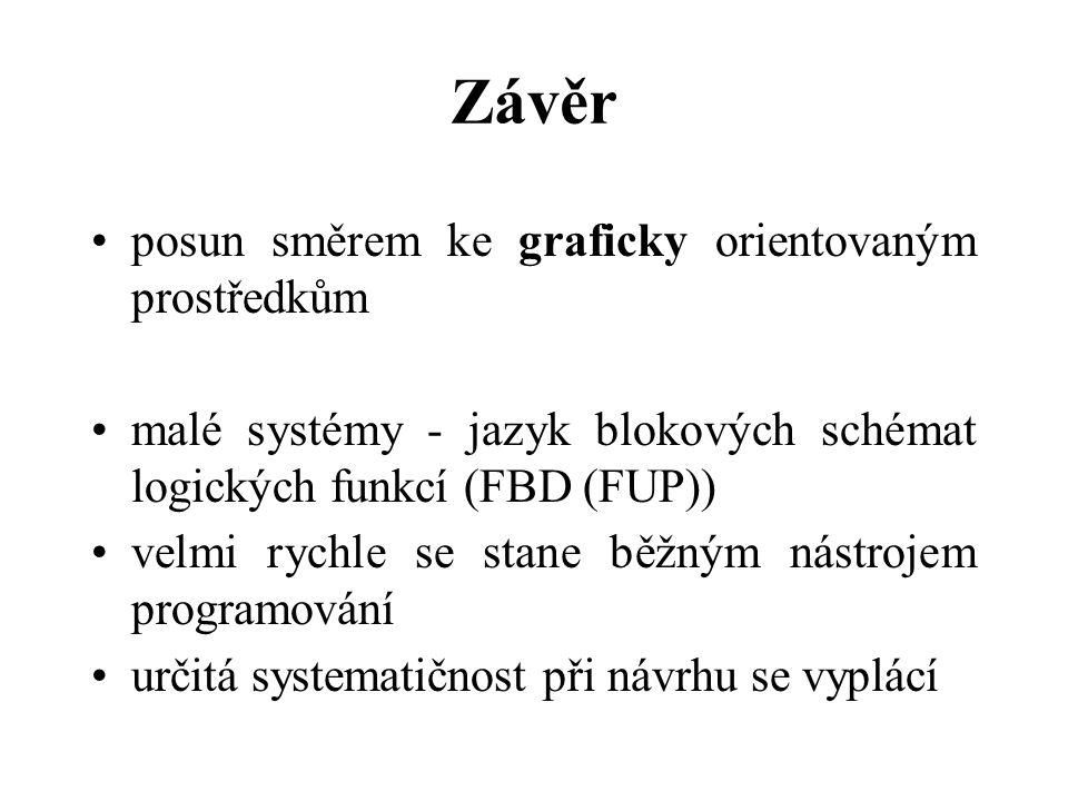 Závěr posun směrem ke graficky orientovaným prostředkům malé systémy - jazyk blokových schémat logických funkcí (FBD (FUP)) velmi rychle se stane běžn