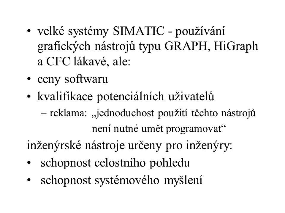 velké systémy SIMATIC - používání grafických nástrojů typu GRAPH, HiGraph a CFC lákavé, ale: ceny softwaru kvalifikace potenciálních uživatelů –reklam