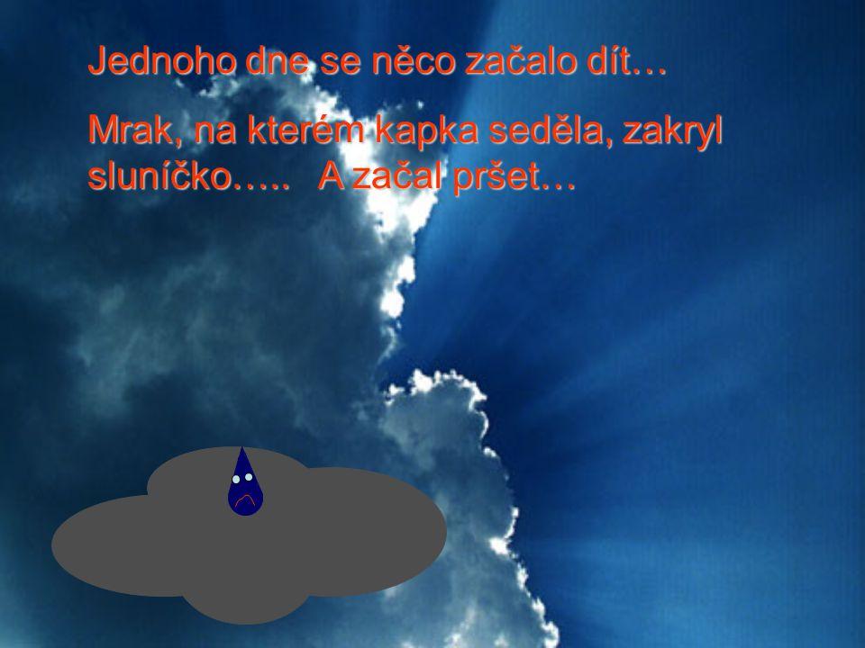 Jednoho dne se něco začalo dít… Mrak, na kterém kapka seděla, zakryl sluníčko….. A začal pršet…