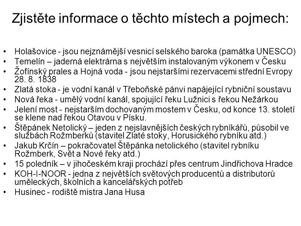 Zjistěte informace o těchto místech a pojmech: Holašovice - jsou nejznámější vesnicí selského baroka (památka UNESCO) Temelín – jaderná elektrárna s největším instalovaným výkonem v Česku Žofínský prales a Hojná voda - jsou nejstaršími rezervacemi střední Evropy 28.