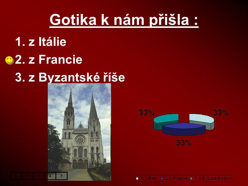 Gotika k nám přišla : 1. z Itálie 2. z Francie 3. z Byzantské říše 12345