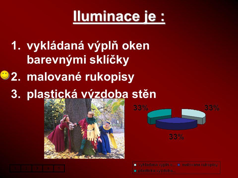 Iluminace je : 1.vykládaná výplň oken barevnými sklíčky 2.malované rukopisy 3.plastická výzdoba stěn 12345