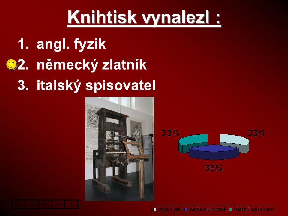 Knihtisk vynalezl : 1.angl. fyzik 2.německý zlatník 3.italský spisovatel 12345