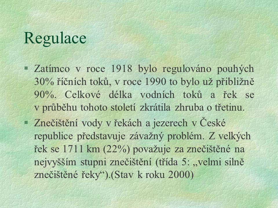 Vodní hospodářství V roce 1918 měla dnešní ČR 17 velkých vodních nádrží s celkovým objemem 0,75 miliónů m3, zatímco v roce 1989 zde bylo 180 nádrží s