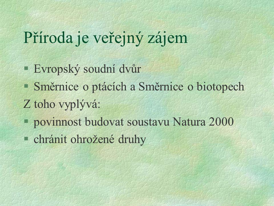 Příroda je veřejný zájem §Evropský soudní dvůr §Směrnice o ptácích a Směrnice o biotopech Z toho vyplývá: §povinnost budovat soustavu Natura 2000 §chránit ohrožené druhy