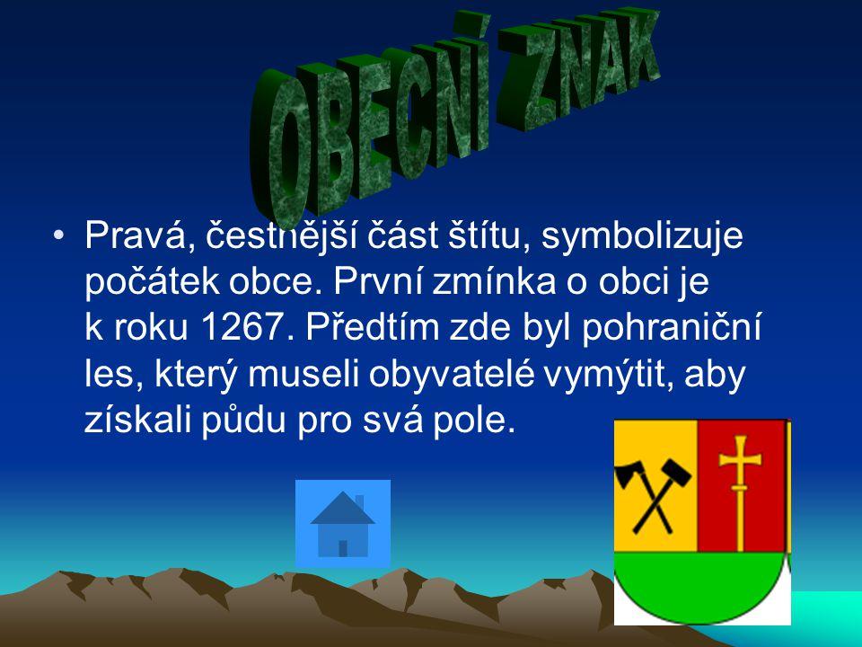 Pravá, čestnější část štítu, symbolizuje počátek obce.