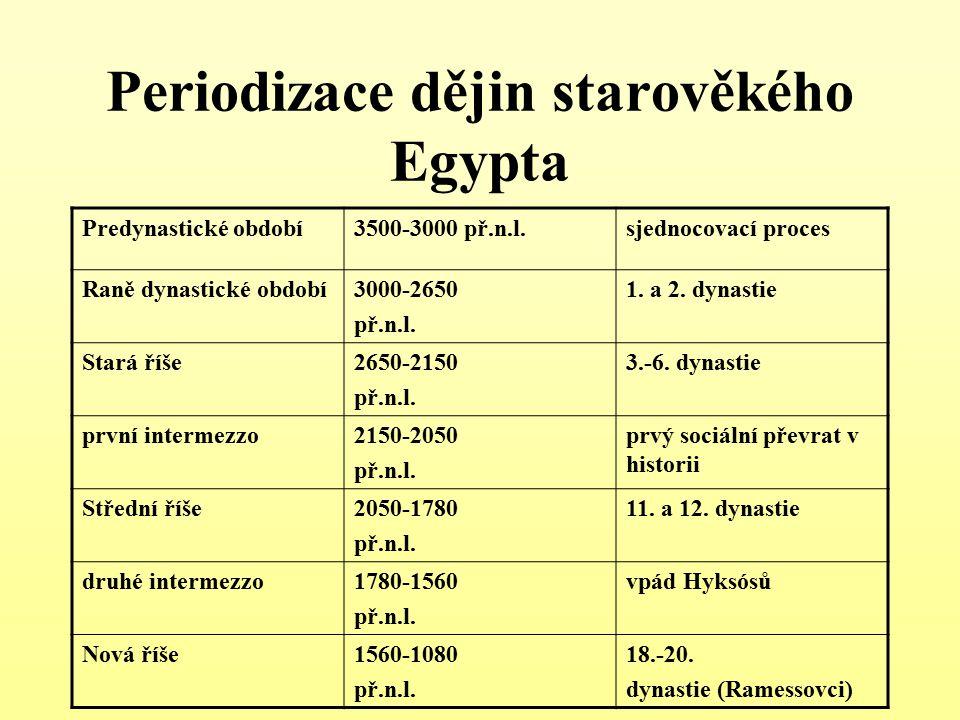 Periodizace dějin starověkého Egypta Predynastické období3500-3000 př.n.l.sjednocovací proces Raně dynastické období3000-2650 př.n.l. 1. a 2. dynastie