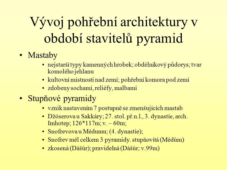 Vývoj pohřební architektury v období stavitelů pyramid Mastaby nejstarší typy kamenných hrobek; obdélníkový půdorys; tvar komolého jehlanu kultovní mí