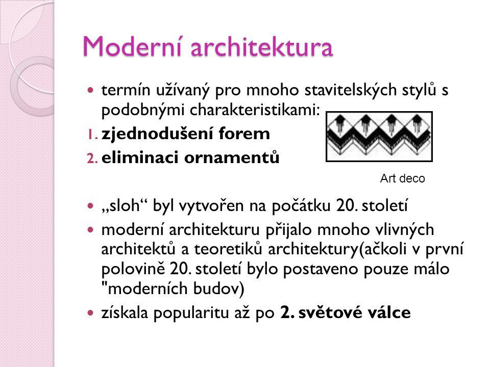Moderní architektura termín užívaný pro mnoho stavitelských stylů s podobnými charakteristikami: 1.