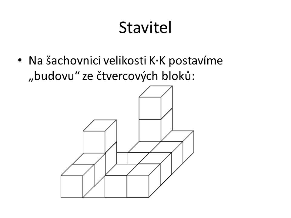 """Stavitel Na šachovnici velikosti K∙K postavíme """"budovu ze čtvercových bloků:"""