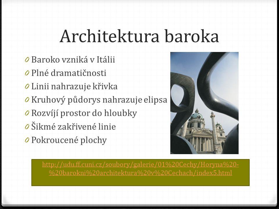 Architektura baroka 0 Baroko vzniká v Itálii 0 Plné dramatičnosti 0 Linii nahrazuje křivka 0 Kruhový půdorys nahrazuje elipsa 0 Rozvíjí prostor do hloubky 0 Šikmé zakřivené linie 0 Pokroucené plochy http://udu.ff.cuni.cz/soubory/galerie/01%20Cechy/Horyna%20- %20barokni%20architektura%20v%20Cechach/index5.html