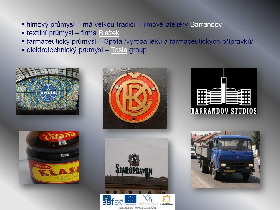  filmový průmysl – má velkou tradici: Filmové ateliéry BarrandovBarrandov  textilní průmysl – firma BlažekBlažek  farmaceutický průmysl – Spofa /vý