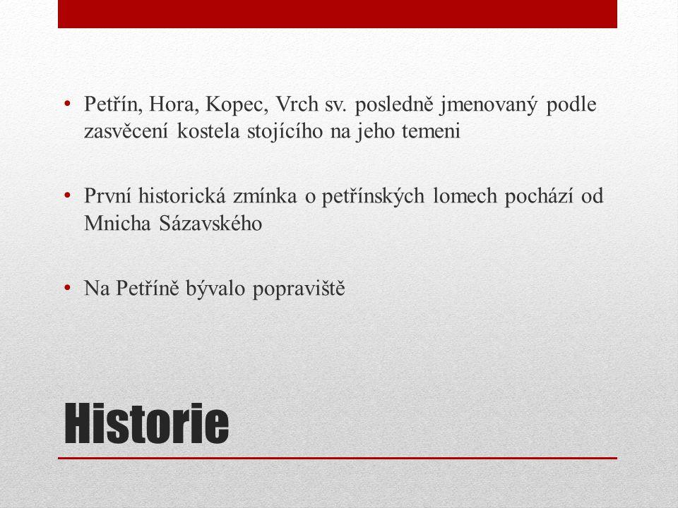 Historie Petřín, Hora, Kopec, Vrch sv.