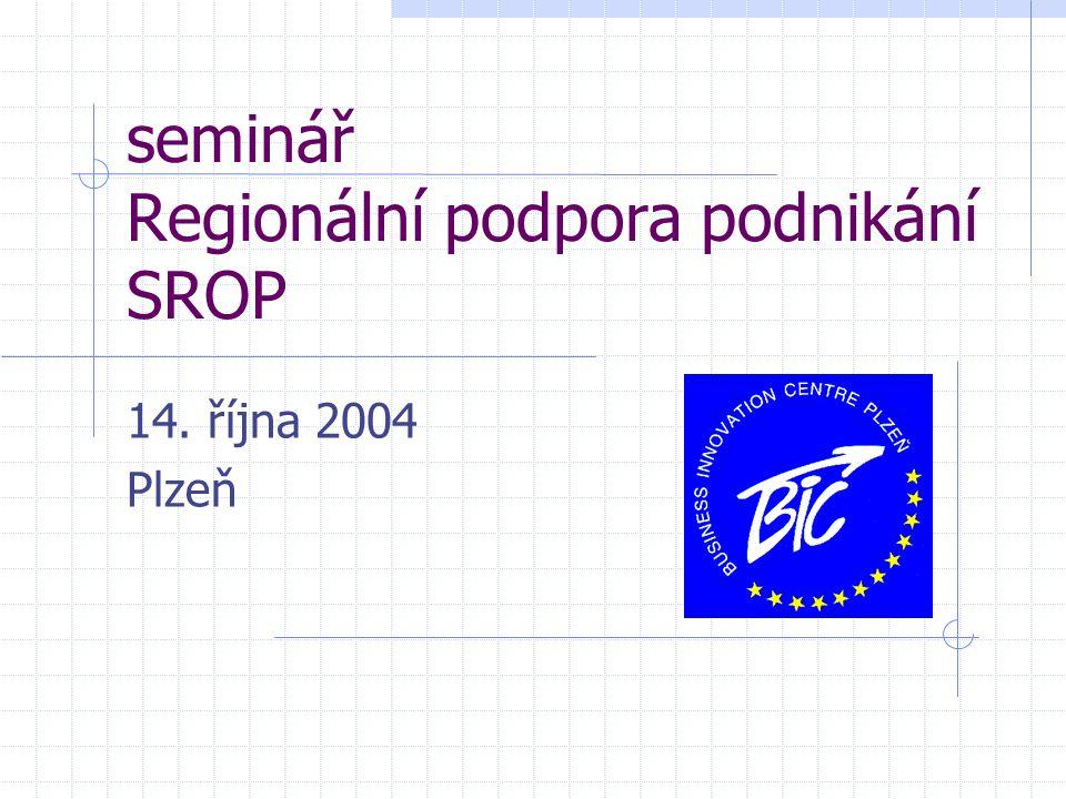 seminář Regionální podpora podnikání SROP 14. října 2004 Plzeň