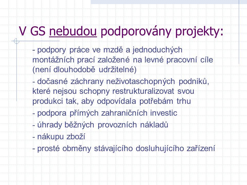 V GS nebudou podporovány projekty: - podpory práce ve mzdě a jednoduchých montážních prací založené na levné pracovní cíle (není dlouhodobě udržitelné