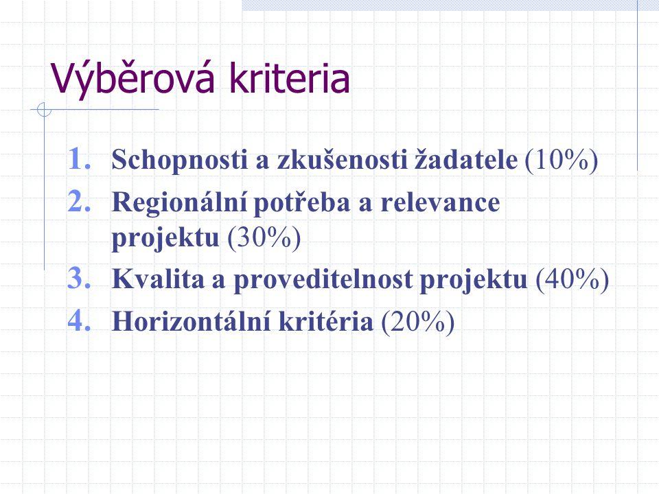 Výběrová kriteria 1. Schopnosti a zkušenosti žadatele (10%) 2. Regionální potřeba a relevance projektu (30%) 3. Kvalita a proveditelnost projektu (40%