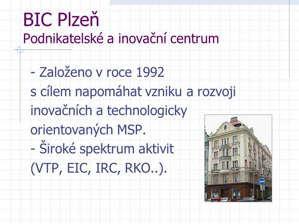 BIC Plzeň Podnikatelské a inovační centrum - Založeno v roce 1992 s cílem napomáhat vzniku a rozvoji inovačních a technologicky orientovaných MSP.