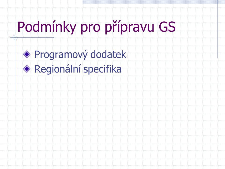 Podmínky pro přípravu GS Programový dodatek Regionální specifika