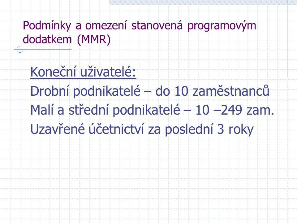 Podmínky a omezení stanovená programovým dodatkem (MMR) Koneční uživatelé: Drobní podnikatelé – do 10 zaměstnanců Malí a střední podnikatelé – 10 –249 zam.