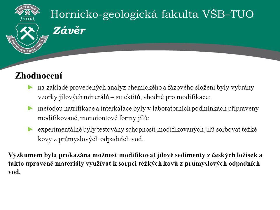 Hornicko-geologická fakulta VŠB–TUO Zhodnocení ► na základě provedených analýz chemického a fázového složení byly vybrány vzorky jílových minerálů – s