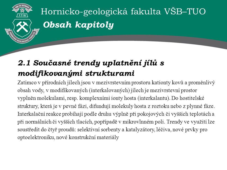 Hornicko-geologická fakulta VŠB–TUO 2.1 Současné trendy uplatnění jílů s modifikovanými strukturami Zatímco v přírodních jílech jsou v mezivrstevním p