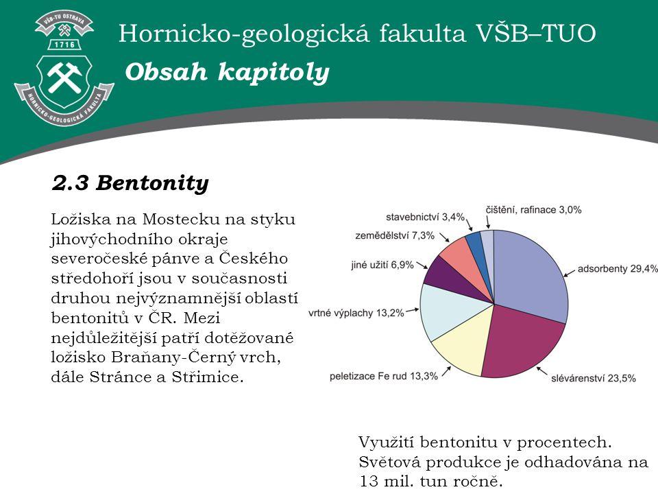 Hornicko-geologická fakulta VŠB–TUO 2.3 Bentonity Obsah kapitoly Využití bentonitu v procentech. Světová produkce je odhadována na 13 mil. tun ročně.