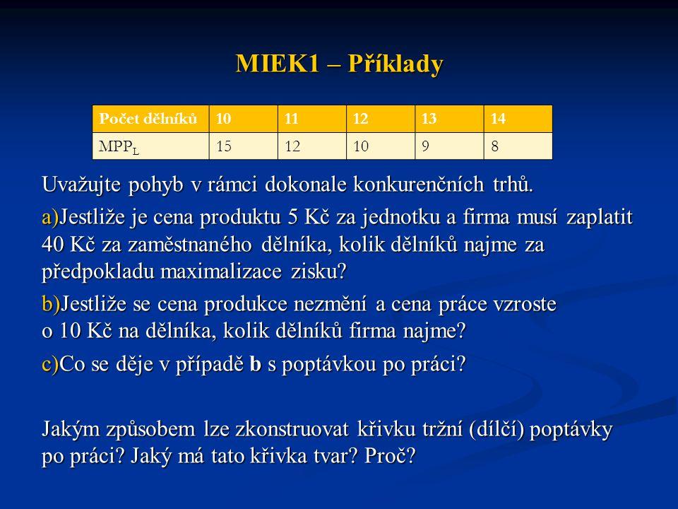 MIEK1 – Příklady Uvažujte pohyb v rámci dokonale konkurenčních trhů. a)Jestliže je cena produktu 5 Kč za jednotku a firma musí zaplatit 40 Kč za zaměs