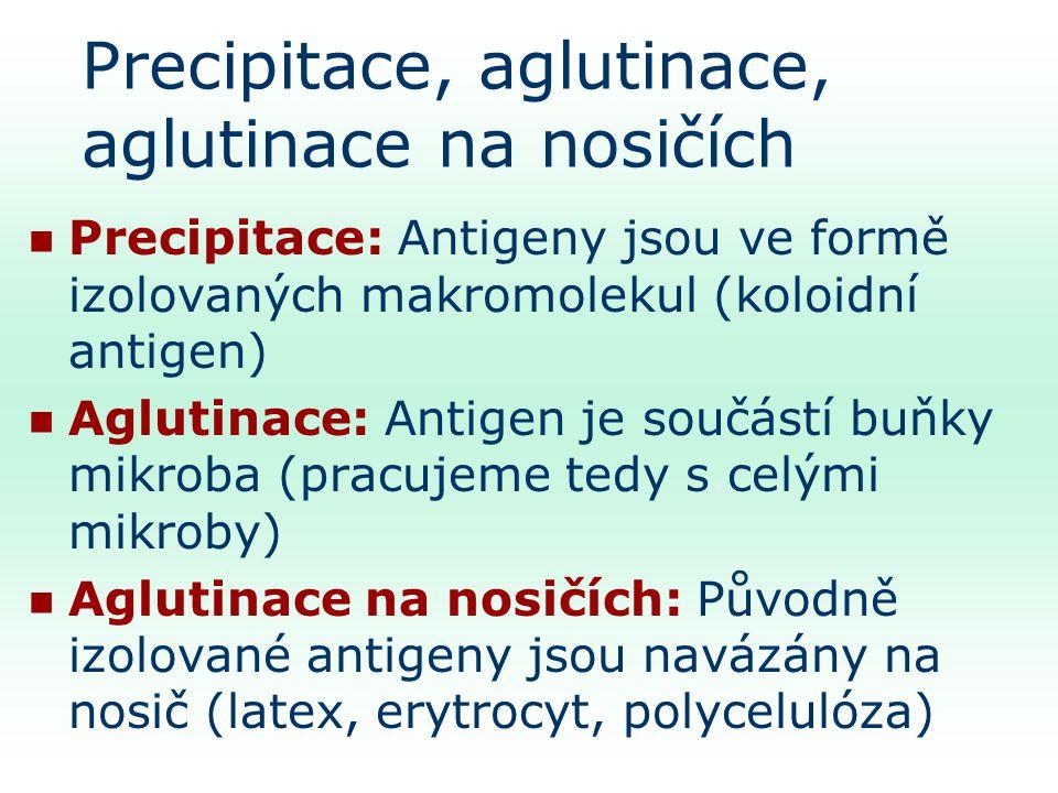 Precipitace, aglutinace, aglutinace na nosičích Precipitace: Antigeny jsou ve formě izolovaných makromolekul (koloidní antigen) Aglutinace: Antigen je součástí buňky mikroba (pracujeme tedy s.celými mikroby) Aglutinace na nosičích: Původně izolované antigeny jsou navázány na nosič (latex, erytrocyt, polycelulóza)