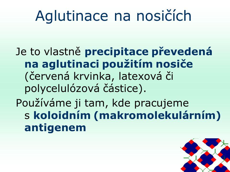 Aglutinace na nosičích Je to vlastně precipitace převedená na aglutinaci použitím nosiče (červená krvinka, latexová či polycelulózová částice).