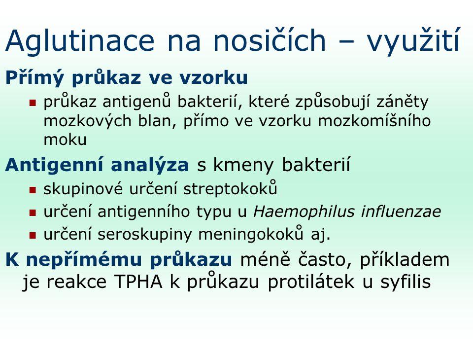 Aglutinace na nosičích – využití Přímý průkaz ve vzorku průkaz antigenů bakterií, které způsobují záněty mozkových blan, přímo ve vzorku mozkomíšního moku Antigenní analýza s kmeny bakterií skupinové určení streptokoků určení antigenního typu u Haemophilus influenzae určení seroskupiny meningokoků aj.