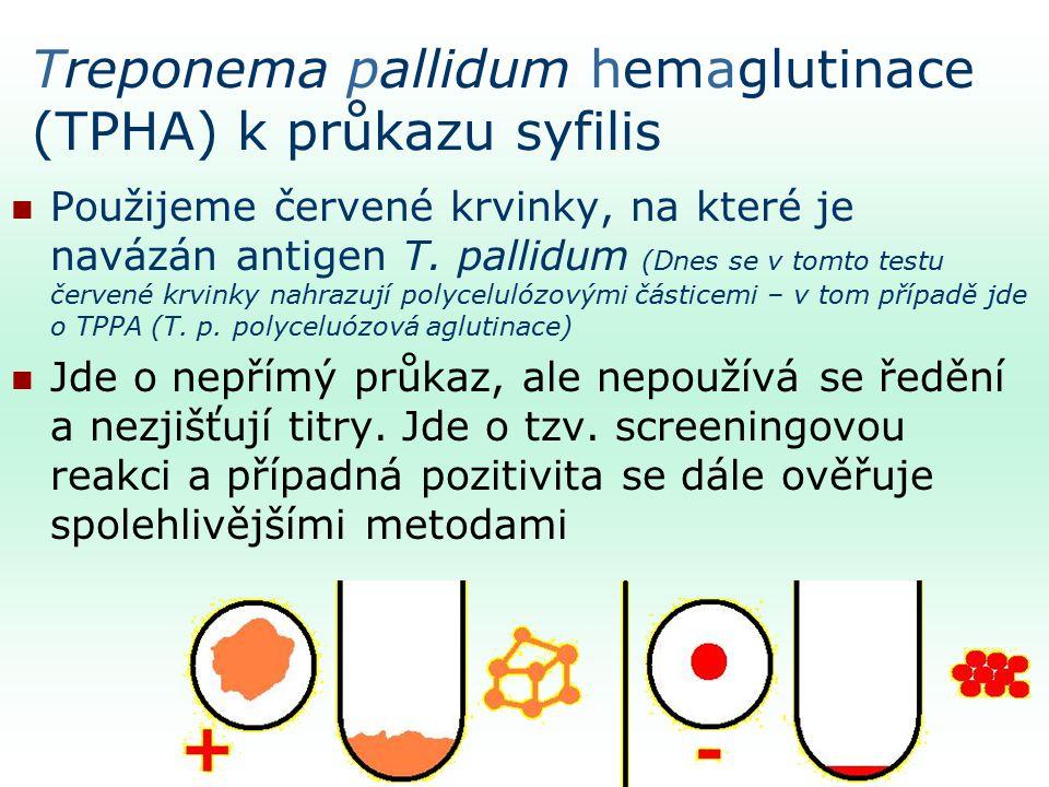 Treponema pallidum hemaglutinace (TPHA) k průkazu syfilis Použijeme červené krvinky, na které je navázán antigen T.