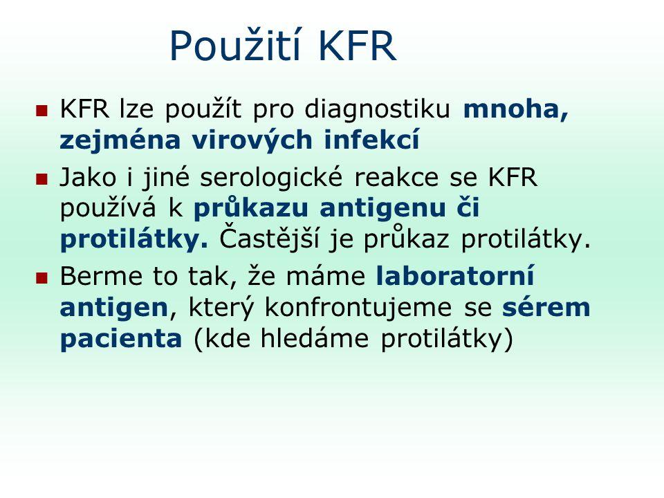 Použití KFR KFR lze použít pro diagnostiku mnoha, zejména virových infekcí Jako i jiné serologické reakce se KFR používá k průkazu antigenu či protilátky.