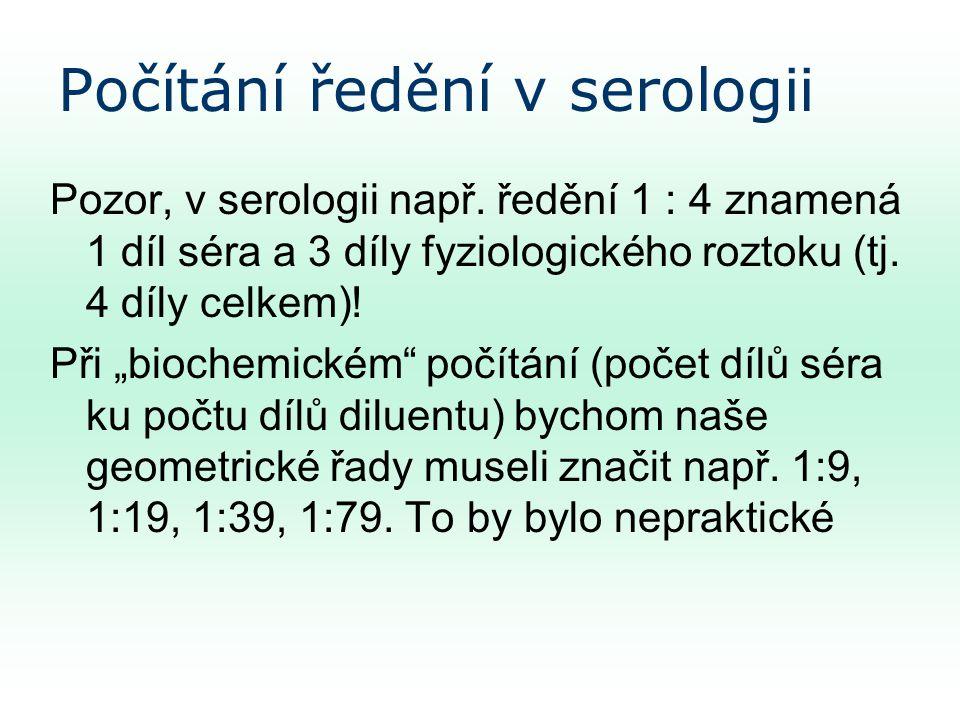 Počítání ředění v serologii Pozor, v serologii např.